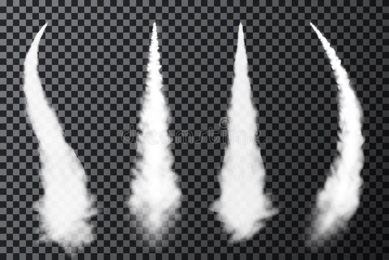 Realistiska flygplankondensationsslingor Rök från strål- eller raketlansering Ställ in av rökcontrails stock illustrationer