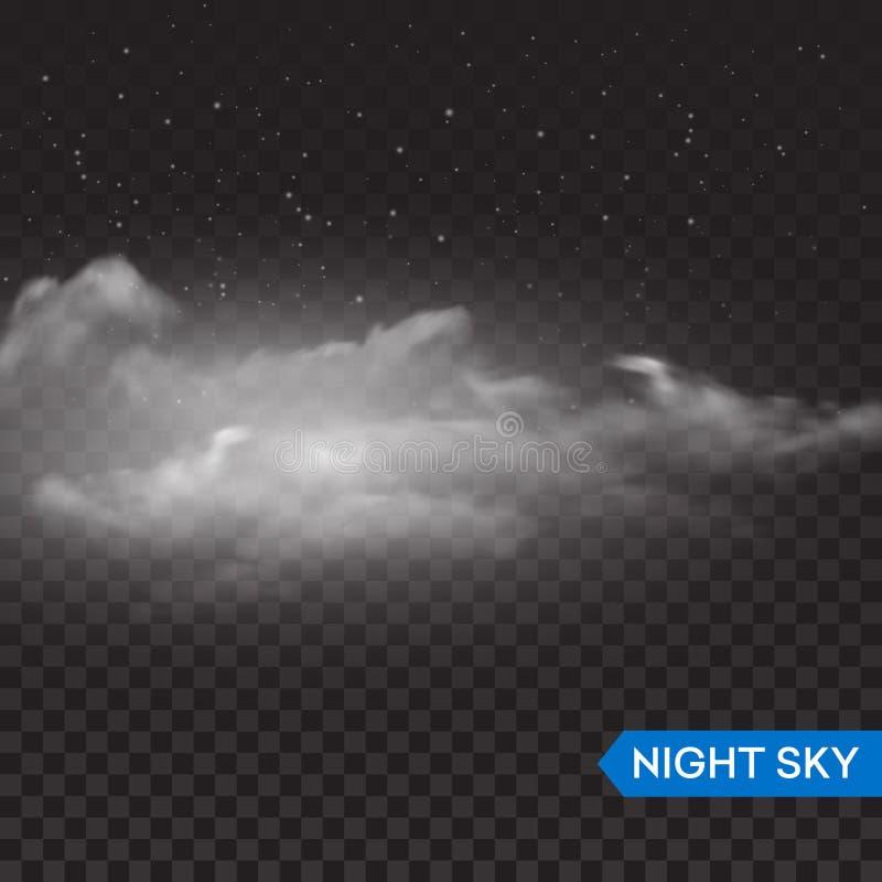 Realistiska genomskinliga moln för natt royaltyfri illustrationer