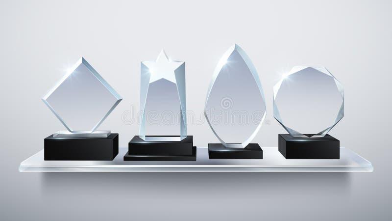 Realistiska glass troféutmärkelser, den genomskinliga diamantvinnaren värderar högt på hyllavektorillustration vektor illustrationer