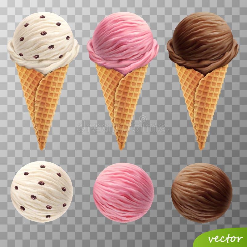 realistiska glassskopor för vektor 3d i kottar för en dillande med russin, fruktjordgubbe, choklad royaltyfri illustrationer