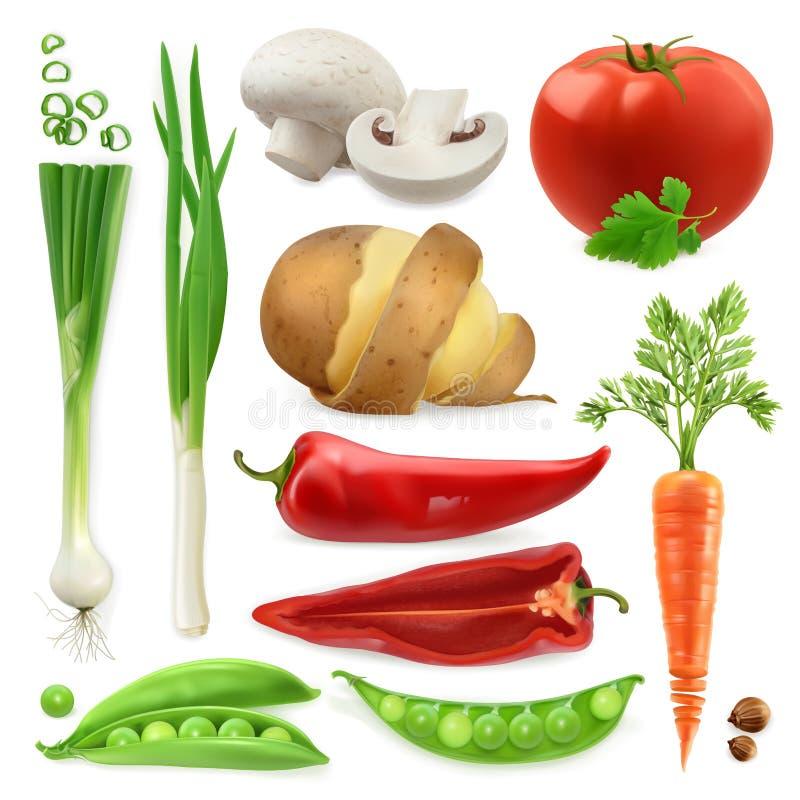 Realistiska grönsaker Isolerad symbolsuppsättning för vektor 3d stock illustrationer
