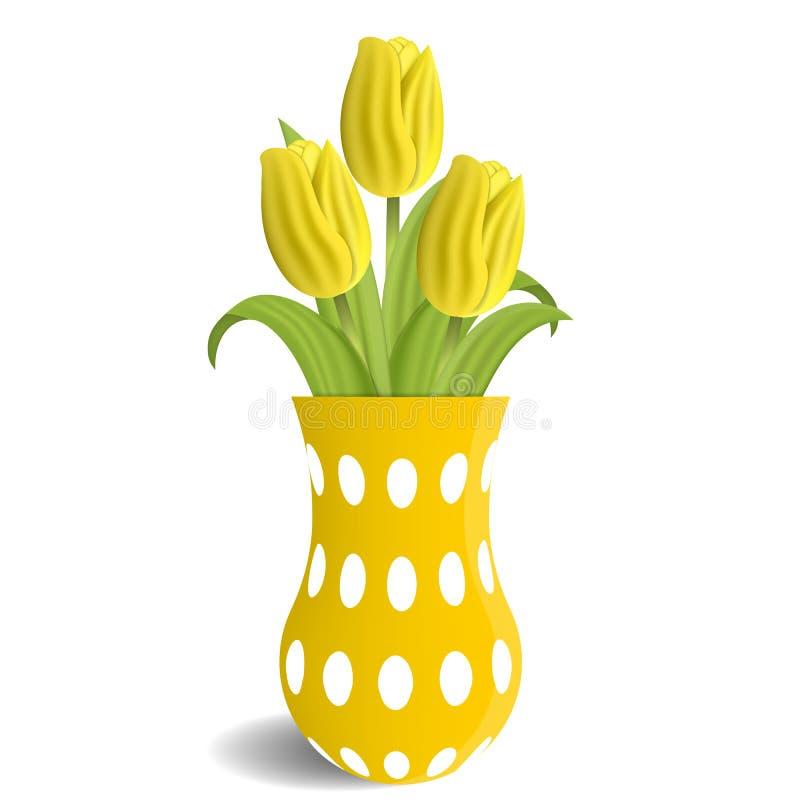 Realistiska gula tulpan i vasen som isoleras på vit bakgrund Boucket av tulpan vatten för vektor för ny illustration för design d royaltyfri illustrationer