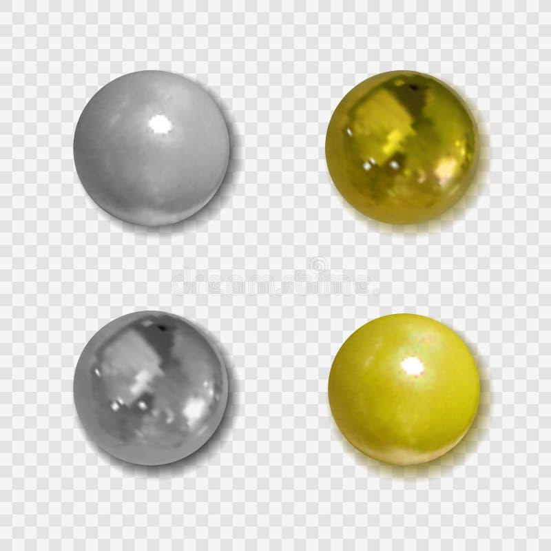 Realistiska guld- för vektor och silverknappar med skuggor på genomskinlig bakgrund, metalliska bollar stock illustrationer