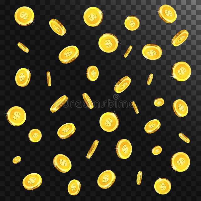 Realistiska guld- fallande mynt vektor illustrationer
