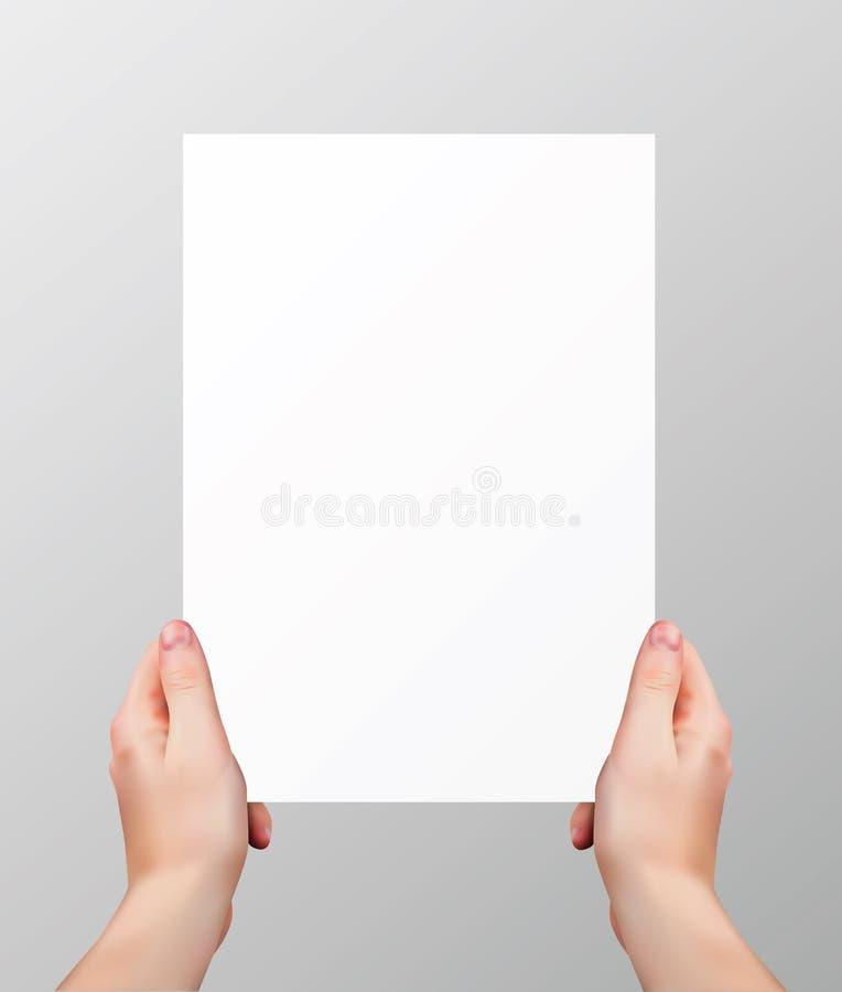 Realistiska händer för vektor som rymmer den tomma pappers- sidan isolerad på grå bakgrund royaltyfri illustrationer