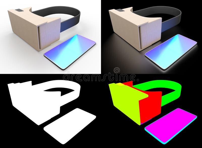 Realistiska hörlurar med mikrofon för pappexponeringsglasvirtuell verklighet Realistiska hörlurar med mikrofon för pappexponering stock illustrationer