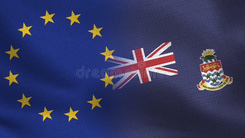Realistiska halvaflaggor för EU och Caymanöarna tillsammans stock illustrationer