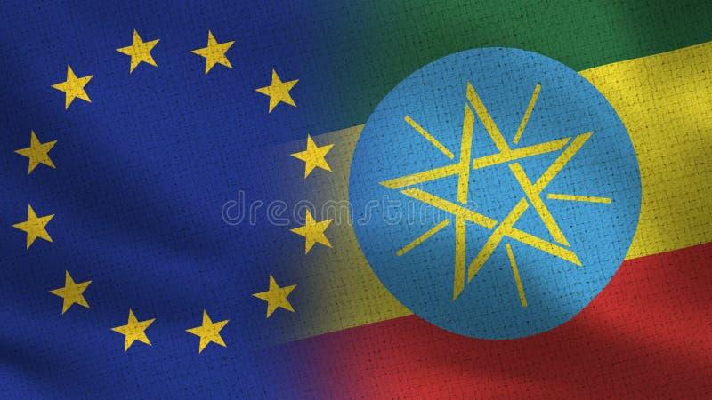 Realistiska halvaflaggor för EU och Etiopien tillsammans stock illustrationer