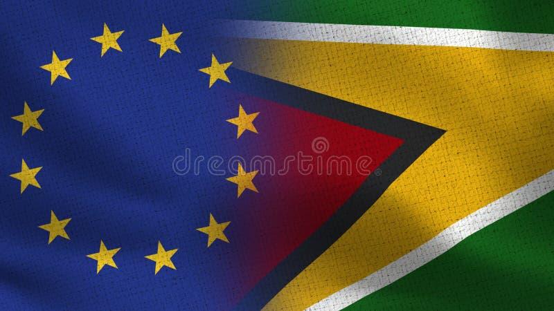 Realistiska halvaflaggor för EU och Guyana tillsammans fotografering för bildbyråer