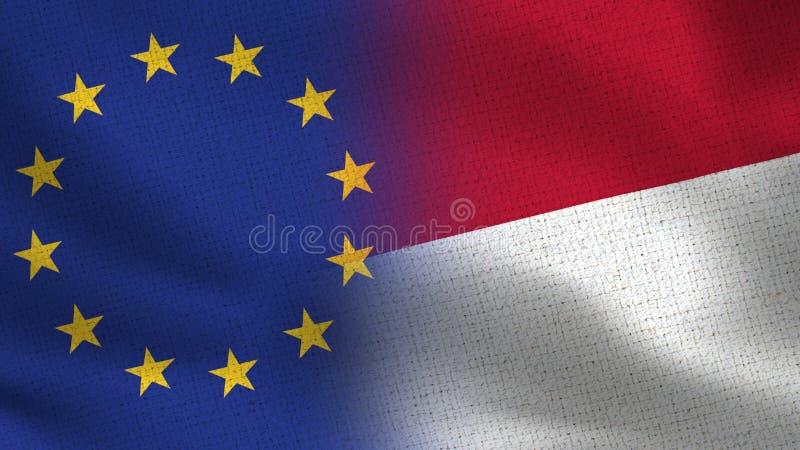 Realistiska halvaflaggor för EU och Indonesien tillsammans stock illustrationer