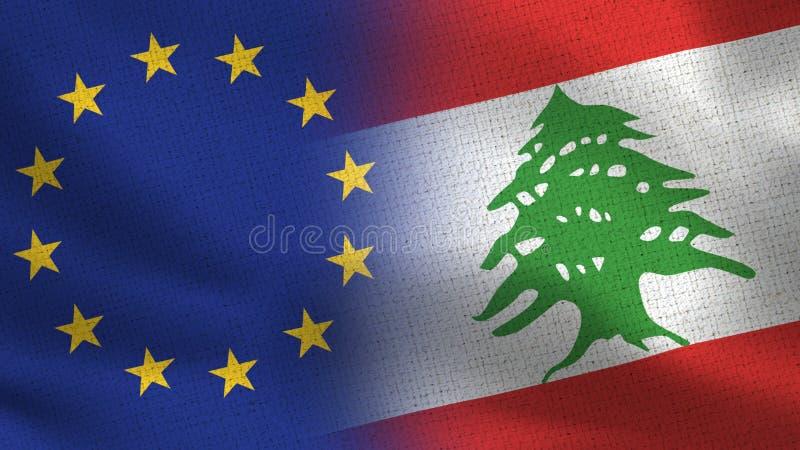 Realistiska halvaflaggor för EU och Libanon tillsammans royaltyfri illustrationer