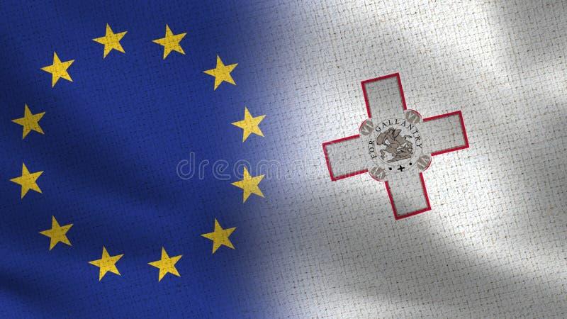 Realistiska halvaflaggor för EU och Malta tillsammans royaltyfri bild