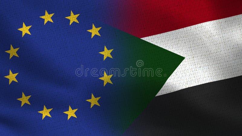 Realistiska halvaflaggor för EU och Sudan tillsammans vektor illustrationer
