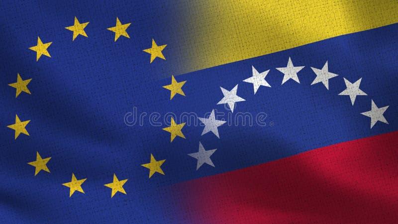 Realistiska halvaflaggor för EU och Venezuela tillsammans stock illustrationer