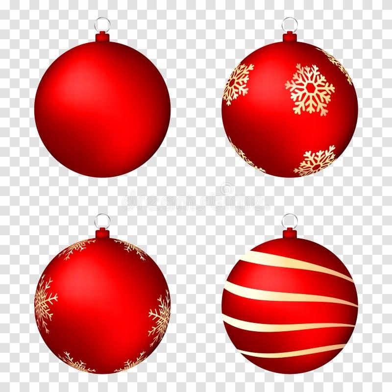 Realistiska julbollar som isoleras på genomskinlig bakgrund Glansiga röda julbollar med guld- modeller stock illustrationer