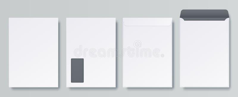 Realistiska kuvert Tomt slut och öppet brev, för affärsmodell för C4 A4 mall, isolerad framdel och tillbaka sikter vektor stock illustrationer