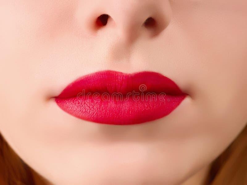 Realistiska kvinnakanter med mörker - röd läppstift royaltyfri bild