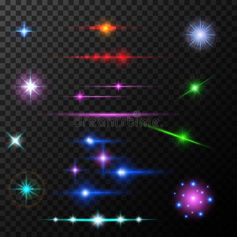 Realistiska linssignalljusstrålar och exponeringar på royaltyfri illustrationer