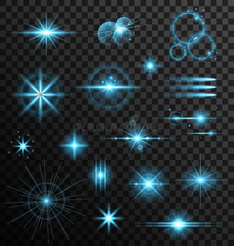 Realistiska ljus för stjärna för uppsättningLens signalljus och glödbeståndsdelar royaltyfri illustrationer