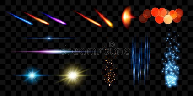 Realistiska ljusa effekter Samling för Lens signalljusbeståndsdelar också vektor för coreldrawillustration vektor illustrationer