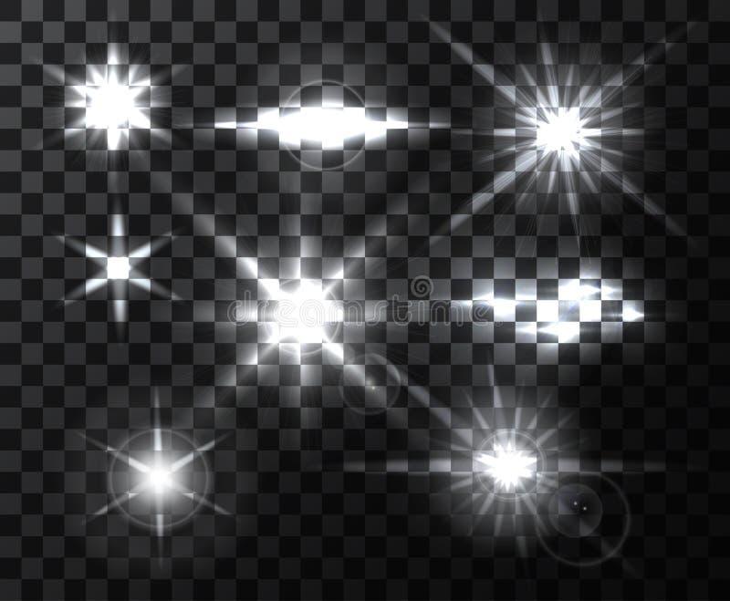 Realistiska ljusa linssignalljusstrålar och exponeringar på den genomskinliga bakgrunden Designbeståndsdelar, dekorativa effekter vektor illustrationer