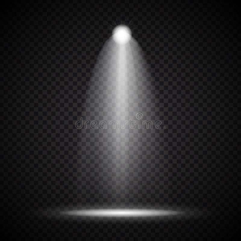 Realistiska ljusa projektorer som tänder lampan med strålkastarebelysningeffekter med den isolerade stordian på genomskinligt royaltyfri illustrationer