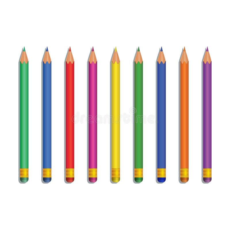 Realistiska mångfärgade blyertspennor som isoleras på vit bakgrund Designbeståndsdel för brevpapper, tillbaka till skolatillförse royaltyfri illustrationer