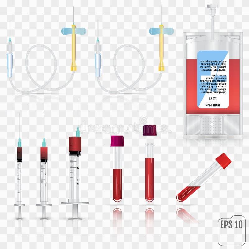 Realistiska medicinska förnödenheter För blodsamlingsuppsättning för kort stock illustrationer