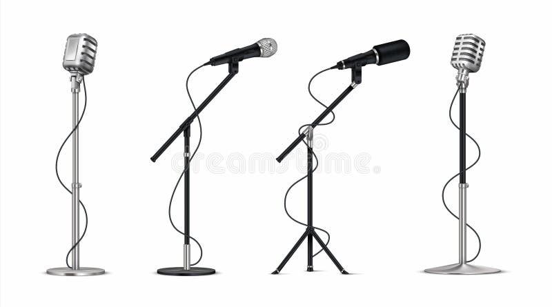 Realistiska mikrofoner yrkesmässig mics för metall 3D med tråd på hållare, ställning-upp och blogging utrustning Vektortappning vektor illustrationer