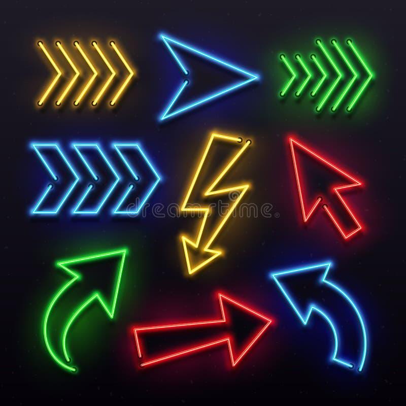 Realistiska neonpilar Ljus för lampa för nattpiltecken Glänsande pilörttecken och glödande riktningspekarevektoruppsättning royaltyfri illustrationer