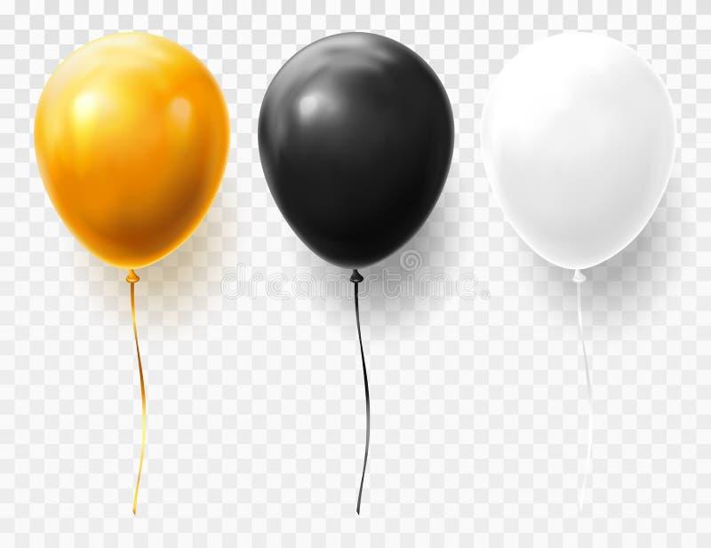Realistiska och volymetriska ballonger på genomskinligt royaltyfri illustrationer