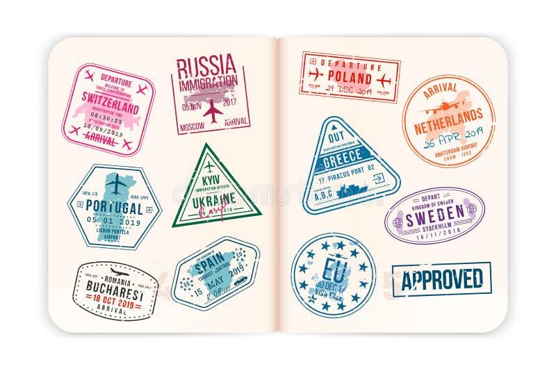 Realistiska passsidor med visumstämplar Öppna det utländska passet med beställnings- visumstämplar vektor illustrationer
