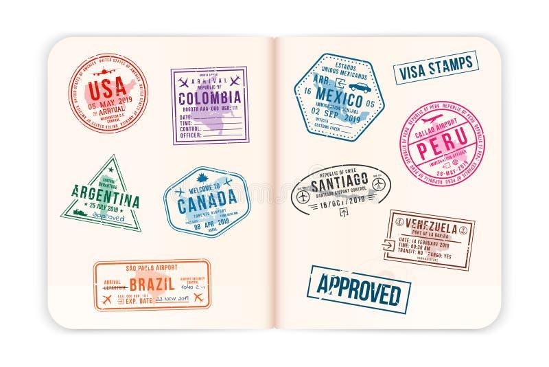 Realistiska passsidor med visumst?mplar ?ppnat utl?ndskt pass med best?llnings- visumst?mplar f?r dublin f?r bilstadsbegrepp lite royaltyfri illustrationer