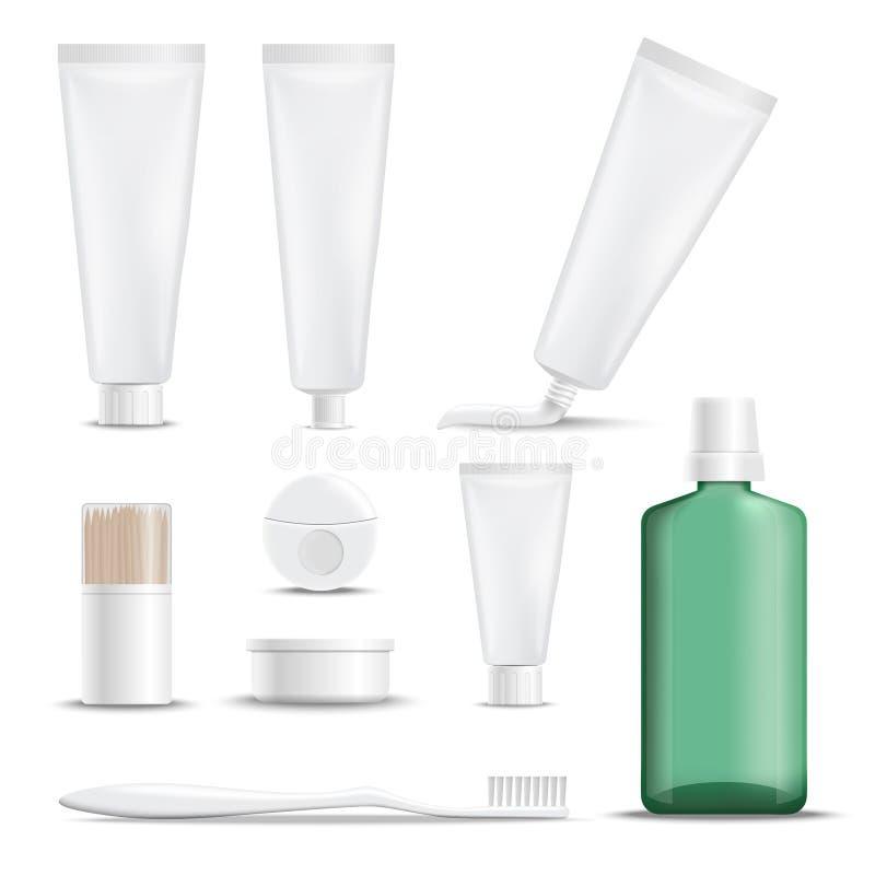 Realistiska produkter för tandomsorg stock illustrationer