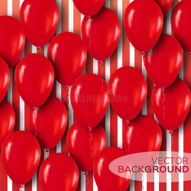 Realistiska röda ballonger som 3d flyger för parti och berömmar vektor illustrationer