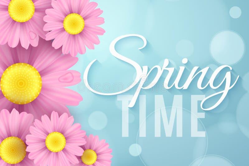 Realistiska rosa tusenskönablommor Säsongsbetonat baner för vår för din annonsering Ekologisk sammansättning Abstrakta blåa bokeh vektor illustrationer