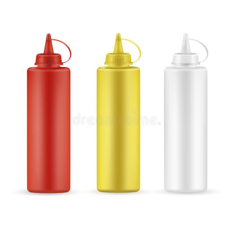 Realistiska såsflaskor ställde in för restaurangprodukter royaltyfri illustrationer