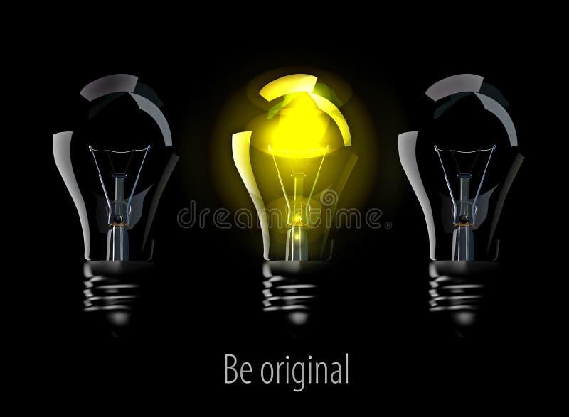 realistiska svarta lampor royaltyfri illustrationer