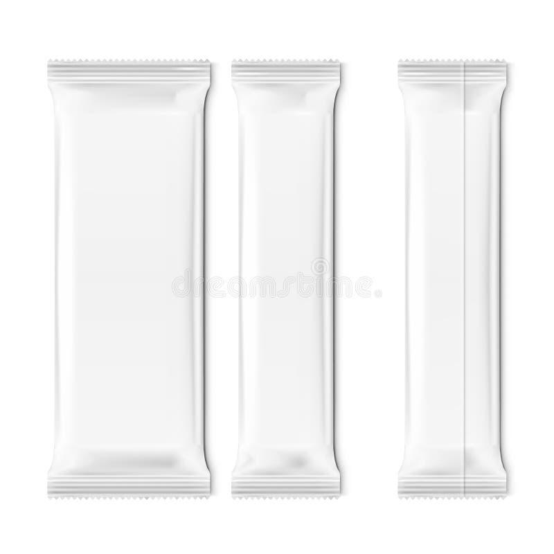 Realistiska tomma mallpackar f?r mellanm?l, choklad eller godis upps?ttning f?r plast- packe stock illustrationer