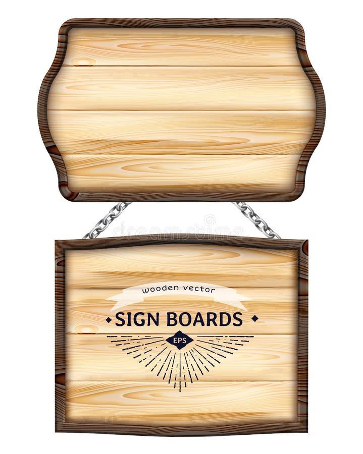 Realistiska träskyltar eller wood planka med den mörka ramen Gamla tomma träbräden för baner, meddelanden som hänger på metallked vektor illustrationer