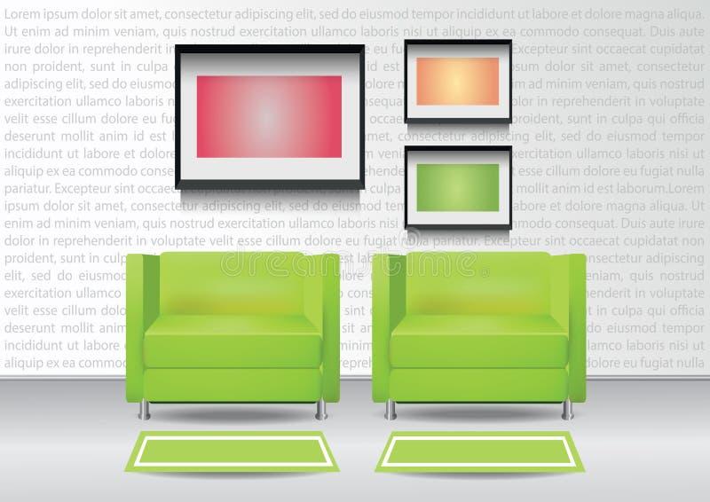 Realistiska två gröna fåtöljer med två mattor och tre photoframes på väggen för illustrationinterior för 10 eps vektor royaltyfri illustrationer