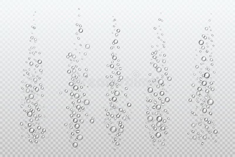 Realistiska väsa bubblor Undervattens- karbonat mousserar under vatten väser gas isolerad akvariumluft Bubblaström vektor illustrationer