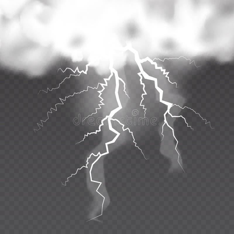 Realistiska vektormoln och blixtar på genomskinlig bakgrund royaltyfri illustrationer