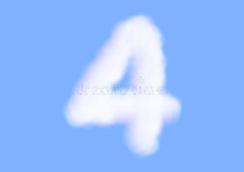 Realistiska vita molnvektorer för konsonant på bakgrund för blå himmel, härlig luftmolnstilsort, typografi av numret 4 eller fyra vektor illustrationer