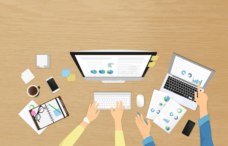 Realistiskt arbetsplatsbaner för personalutbildning och professionellutveckling stock illustrationer