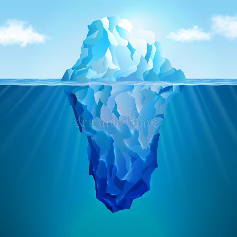 Realistiskt begrepp för isberg stock illustrationer