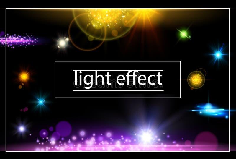 Realistiskt begrepp för ljusa effekter stock illustrationer