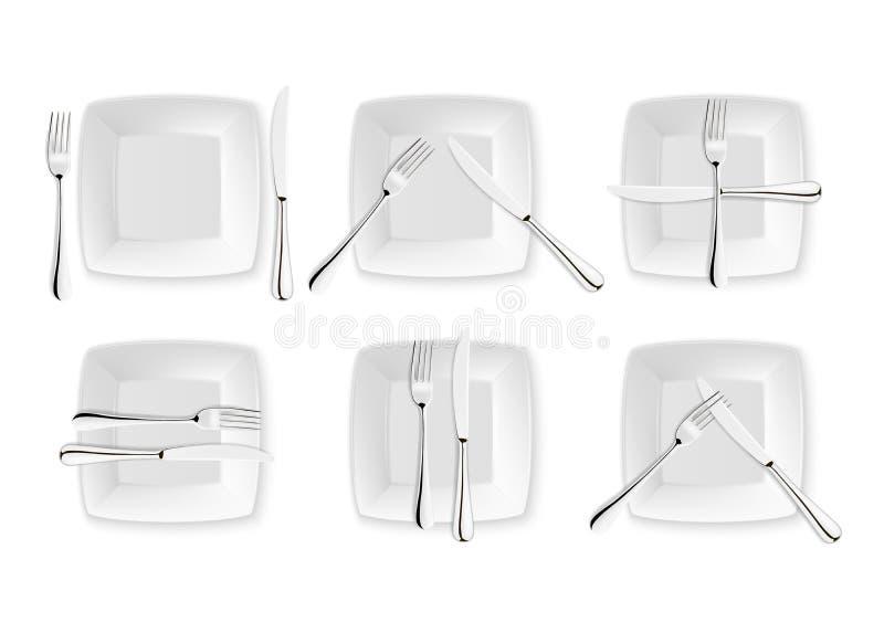 Realistiskt bestick och tecken av tabelletikett, vektorsymboler som isoleras på vit bakgrund Gaffel, kniv och maträttplatta vektor illustrationer