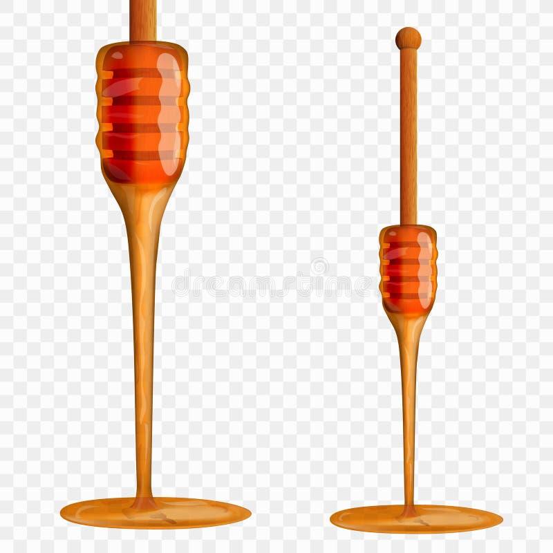 Realistiskt bi Honey Dripping From Wooden Stick royaltyfri illustrationer