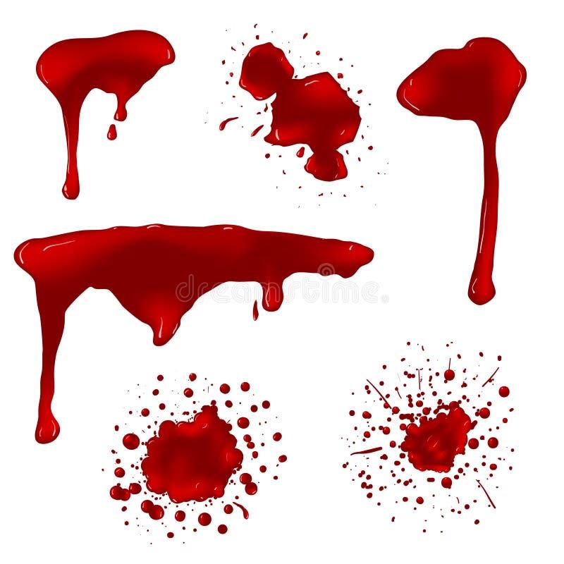 Realistiskt blod plaskar vektoruppsättningen vektor illustrationer